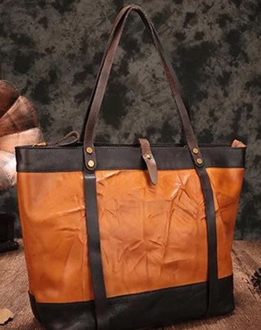 Vintage Womens Brown Leather Tote Purse Large Brown Shoulder Tote Purse for Ladies
