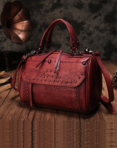 Red Vintage Leather Womens Boston Handbag Side Bag Brown Rivet Boston Shoulder Purse for Ladies