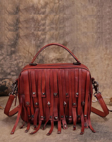 Red Vintage Womens Leather Purse Tassel Handbag Brown Shoulder Bag Crossbody Purses for Ladies
