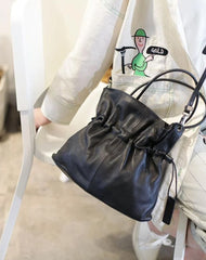 Fashion Womens Black Leather Drawstring Bucket Handbag Purse Womens Bucket Tote Bag for Ladies