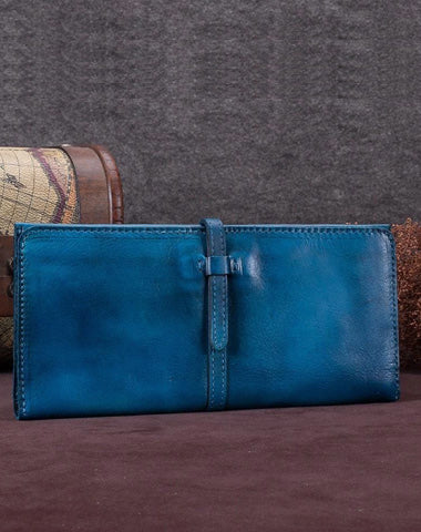 Blue Womens Long Bifold Wallet Brown Long Wallet Ladies Long Wallet Purse