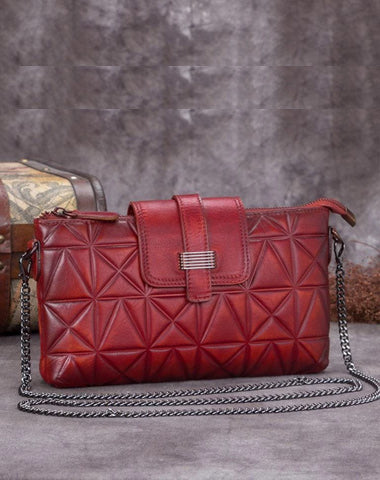 Red Leather Geometric Womens VIntage Chain Shoulder Bag Side Bag Brown Chain Clutch Purse for Ladies