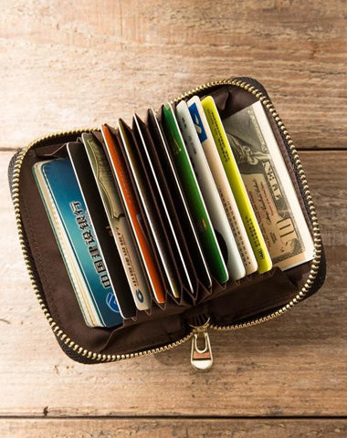 Black Leather Mens Small Card Wallet Red Zipper Card Holder Brown Zipper Coin Wallet For Men