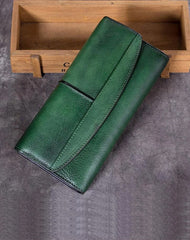 Green Vintage Womens Leather Trifold Long Wallet Purse CLutch Phone Wallet for Ladies