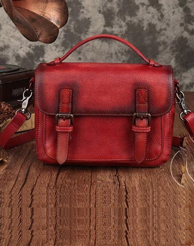 Fashion Womens Red Leather Satchel Handbag Small Brown Satchel Bag Crossbody Bags for Ladies