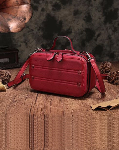 Vintage Small Womens Leather Red Handbag Cube Box Small Red Leather Shoulder Bag for Men