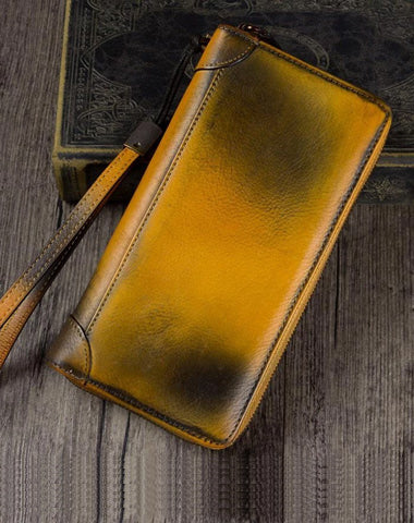Yellow Womens Vintage Leather Green Long Wallet Zipper Brown Clutch Long Wristlet Wallet for Ladies