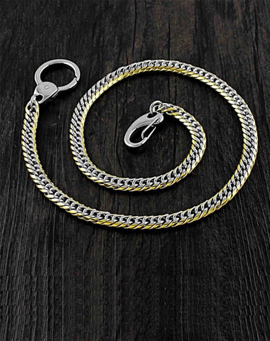 SOLID STAINLESS STEEL BIKER Silver Gold WALLET CHAIN LONG PANTS CHAIN JEAN CHAIN FOR MEN