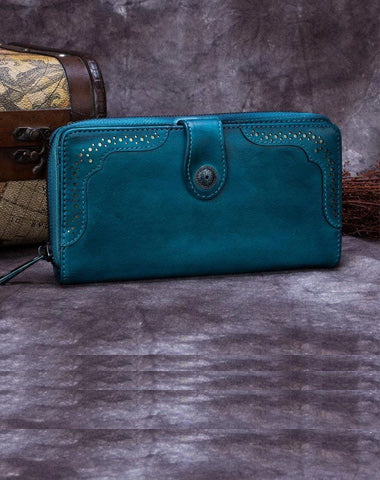 Vintage Womens Blue Leather Bifold Wallet Women's Leather Brown Clutch Wallet for Ladies