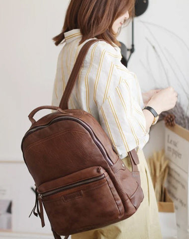 Vintage Cute Tan Leather Backpack Coffee Leather Fashion School Backpack for Women
