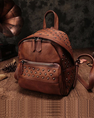 Brown Vintage Leather Womens Backpacks Small Black Leather Backpack for Ladies