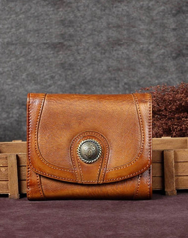 Brown Vintage Womens Leather Buckle Small Trifold Wallet billfold Wallet Purse for Ladies