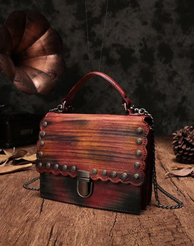 Vintage Womens Leather Handbags Purse Colorful Satchel Handbags Shoulder Crossbody Bags for Ladies