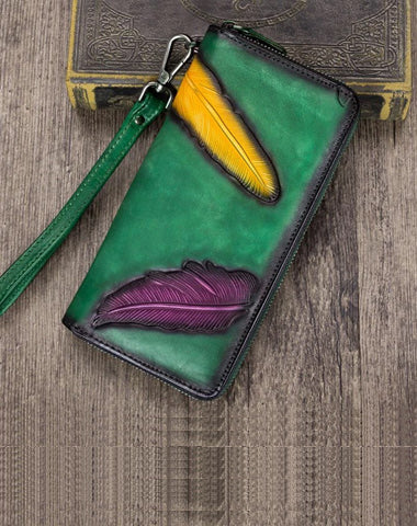 Green Tooled Womens Leather Long Clutch Wallet Long Wallet Feather Bifold Long Purse for Ladies