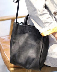 Fashion Leather Black Womens Vertical Tote Bags For Work Zip Top Tote Handbag Shoulder Bag Purse