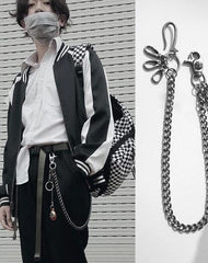 Cool Men's Leather Hanging Pendant Stainless Steel Pants Chain Biker Wallet Chain For Men
