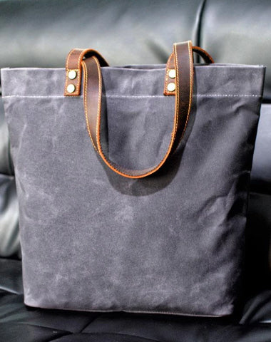 Cool Canvas Leather Mens Large Gray Canvas Handbags Tote Bag Shoulder Bag Tote Purse For Men