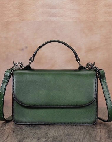 Green Vintage Ladies Leather Satchel Handbag Purse Green SHoulder Bag Side Bag for WOmen