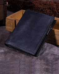Grey Vintage Womens Leather Bifold Slim Brown Small Wallet BLue Short Wallet Purse for Ladies