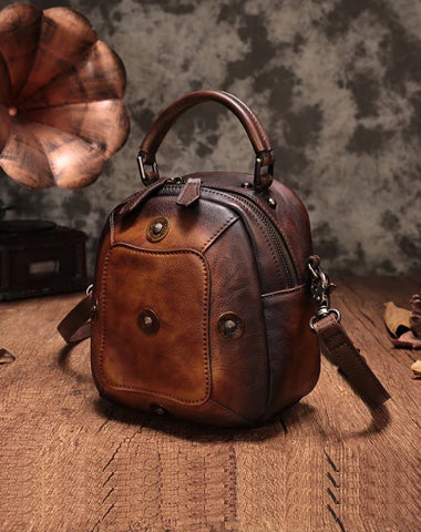 Vintage Brown Geometric Womens Leather Round Brown Handbag Box Shoulder Bag Purse for Ladies