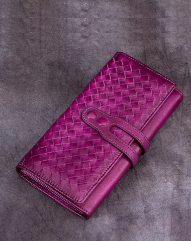 Purple Vintage Womens Braided Leather Trifold Long Wallet Phone Clutch Purse for Ladies