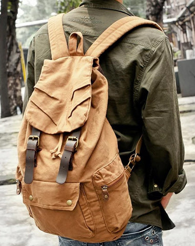 "Canvas  Women Mens 18"" Brown Travel Backpack Green Computer Bag College Backpack for Men"