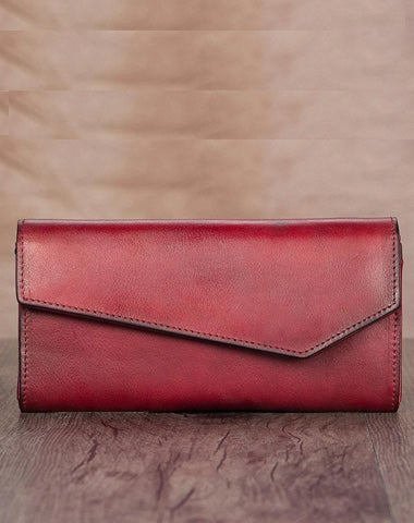 Red Vintage Womens Genuine Leather Long Folded Wallet Brown Clutch Phone Purses for Ladies