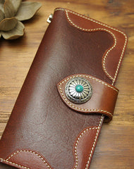 Handmade biker leather wallet with chain brown red brown Long wallet purse for men