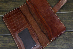 Handmade biker wallet leather with chain coffee dark brown Long wallet purse for men