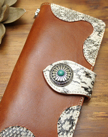 Handmade coffee biker wallet snake skin leather with chain Long wallet purse for men