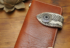 Handmade coffee brown biker wallet snake skin leather with chain Long wallet purse for men