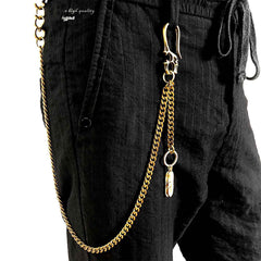 Brass Skull Wallet Chain Long Biker Wallet Chain Gold Cool Pants Chain For Men