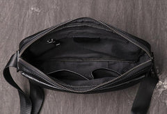 Black LEATHER MENS Small Courier Bag SIDE BAG Black Leather MESSENGER BAG FOR MEN