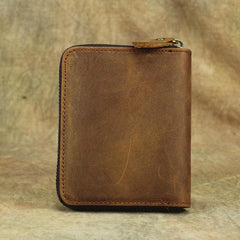 Vintage Bifold Leather Men's Zipper Small Wallet Short Zipper Wallet For Men