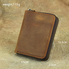 Vintage Bifold Leather Men's Zipper Small Wallet billfold Zipper Wallet For Men