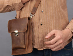 Brown Leather Small Belt Pouch Belt Bag Small Shoulder Bag Waist Bag For Men