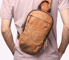 Cool Brown Mens Leather One Shoulder Backpack Chest Bag Sling Bag For Men