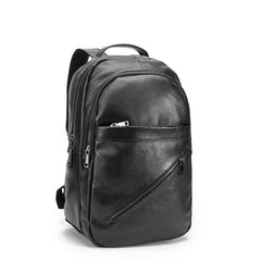 Black Mens Leather College Backpack Laptop Backpack Black Travel Backpack for Men