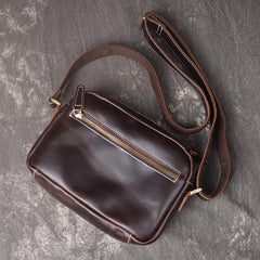Cool Brown Leather Men's Small Shoulder Bag Messenger Bag Side Bag For Men