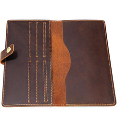 Slim Mens Leather Bifold Long Wallet Bifold Long Wallet for Men