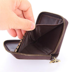 Cool Brown Leather Men's Car Key Wallet Short Small Key Wallet For Men