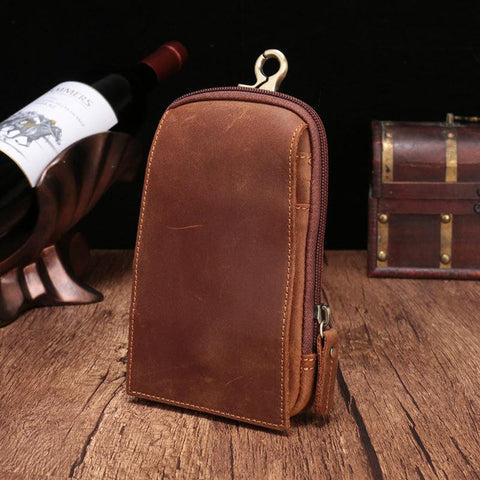 Small Mens Leather CELL PHONE HOLSTER Belt Bag Belt Pouch Waist Bag For Men