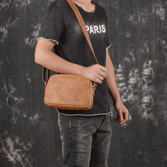 Vintage Small Brown Leather Men's Side Bag Black Courier Bag Messenger Bag For Men