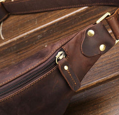 Vintage Brown Leather Men's Fanny Pack Waist Bag Brown Hip Pack Chest Bag For Men