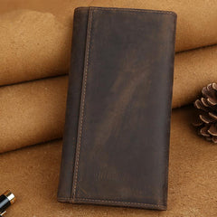 Cool Leather Wallet Men's Trifold Long Wallet Vintage Long Wallet For Men