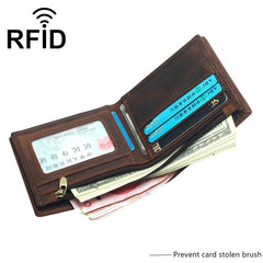 RFID Leather Mens Small Bifold Wallet billfold Wallets Front Pocket Wallets for Men
