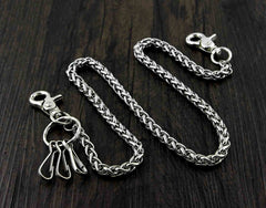 BADASS SILVER STAINLESS STEEL MENS KEY BIKER WALLET CHAIN CHAIN PANTS CHAIN WALLET CHAIN FOR MEN