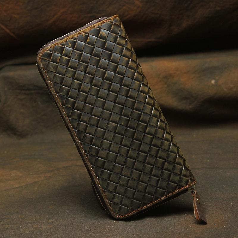 Vintage Braided Brown Leather Men's Clutch Long Wallet Zipper Long Wallet For Men