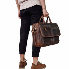 Vintage Leather Briefcase Handbag 14inch Laptop Bag Business Bag Shoulder Bags For Men