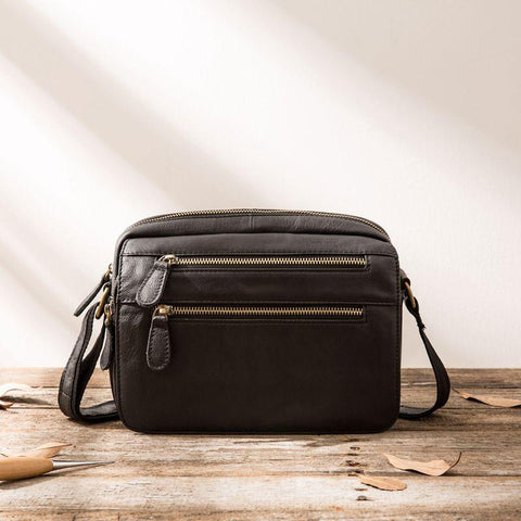 Small Cool Leather Mens Messenger Bags Shoulder Bag  for Men